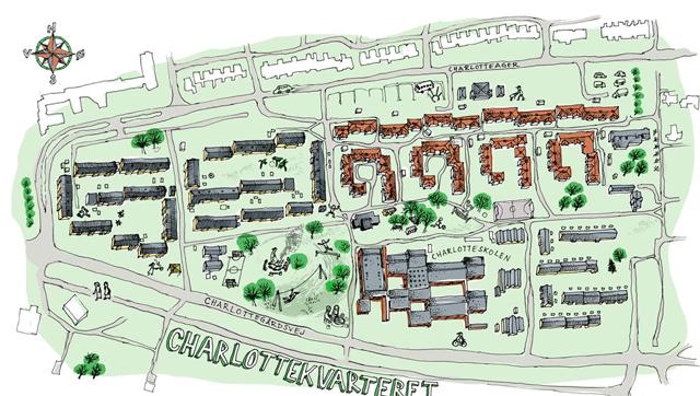 Kort over Charlottekvarteret