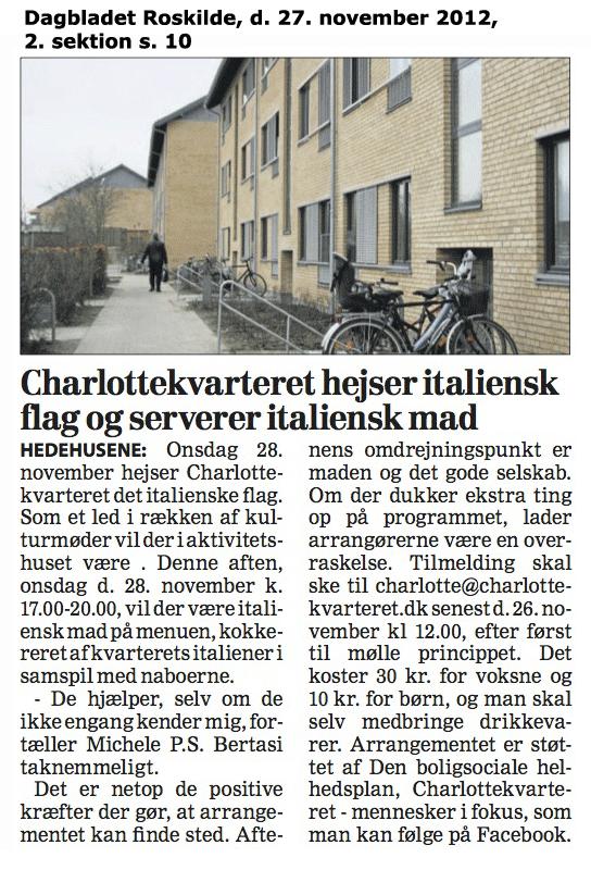Foromtale af italiensk aften i Charlottekvarteret, Dagbladet Roskilde 27. november 2012